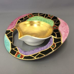 金彩色絵鉢