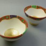 金彩色絵汲出し碗 湯呑
